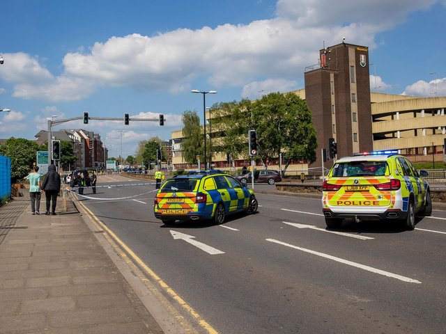 A female pedestrian was seriously injured in a collision in Northampton town centre on Saturday.