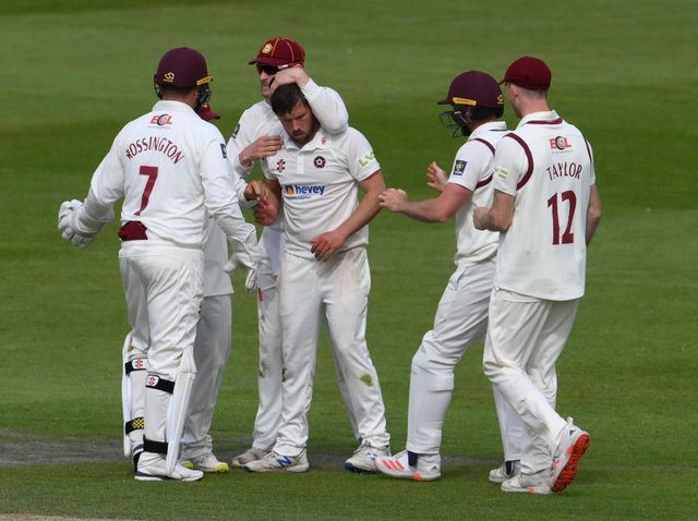 Simon Kerrigan celebrates one of his five wickets at Hove