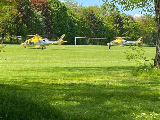 Two air ambulances were called following the crash on Saturday