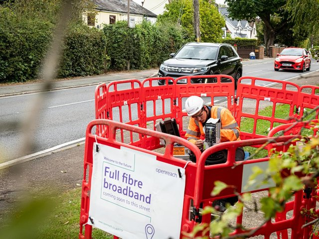 Full fibre broadband is being introduced to 13 areas in the county.