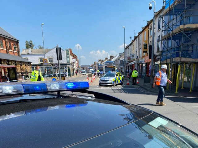 A bus collided with some scaffolding on St Edmunds Street in Northampton.