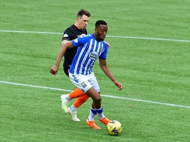 Nicke Kabamba playing for Kilmarnock against Rangers.