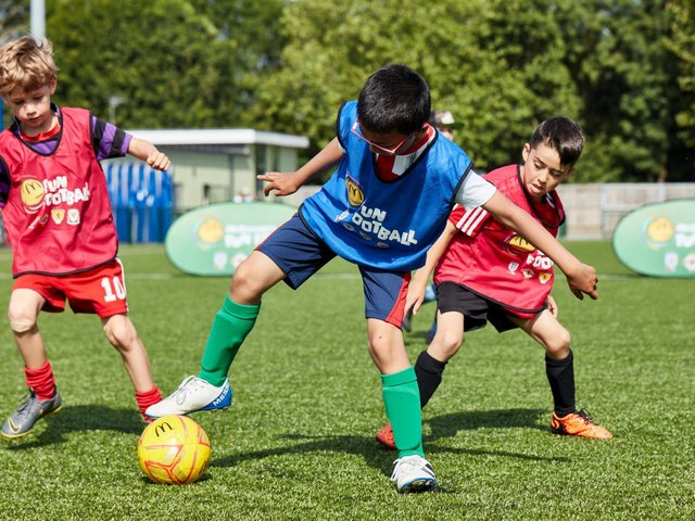 Children can access free football sessions in Northampton in June.