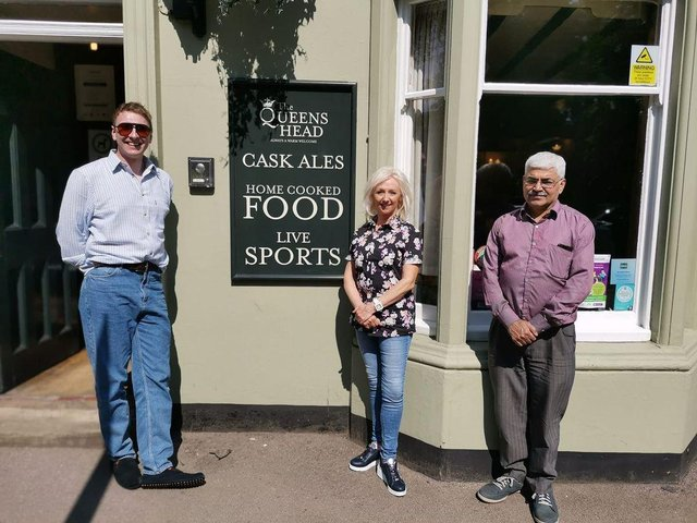 Joe Lycett, Debbie McGee and Mark Silcox take a break from filming at the Queen's Head