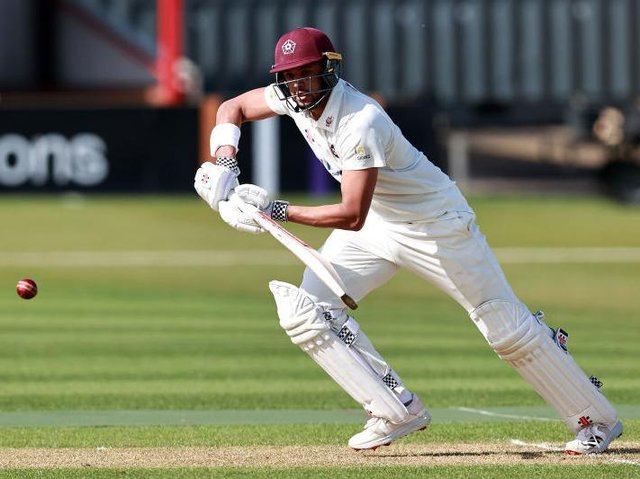 Emilio Gay scored his first Championship century for Northants against Kent