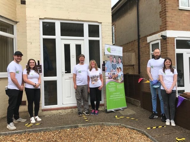 Phil and Sue Adkins (centre), their son, Rob and partner Shannon (left), daughter Emma with partner Andrew (right). Photo: Northamptonshire Health Charity.