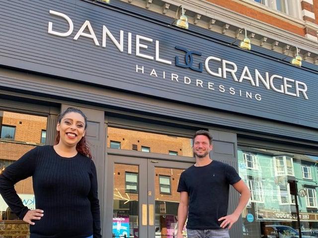 Competition winner, Hannah Litt, with salon owner Daniel Granger.