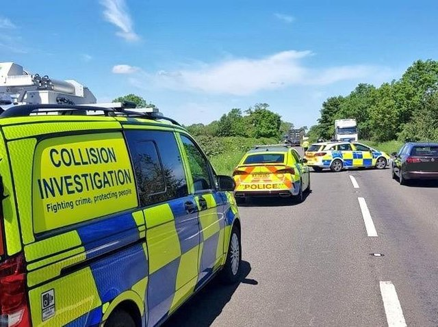 The A45 is blocked north of Daventry while crash investigations get under way