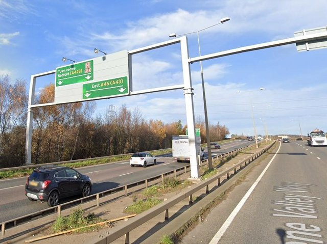 One lane is blocked just after the Barnes Meadow flyover following Wednesday morning's smash