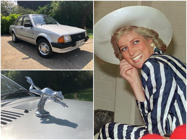 Princess Diana's 1981 Ford Escort, complete with silver frog mascot on the bonnet, is being auctioned later this month. Photos: Reeman Dansie and Getty Images