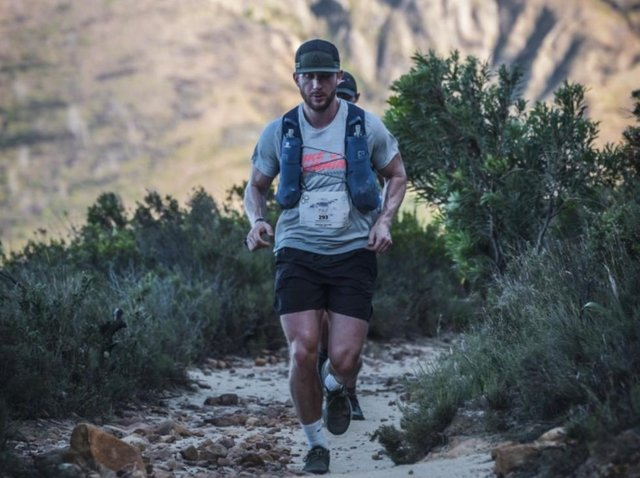 Paul Downes during his run around Table Mountain National Park for Thames Valley Air Ambulance