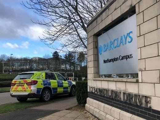 Climate change campaigners hit Barclays' Northampton Campus in February 2020.