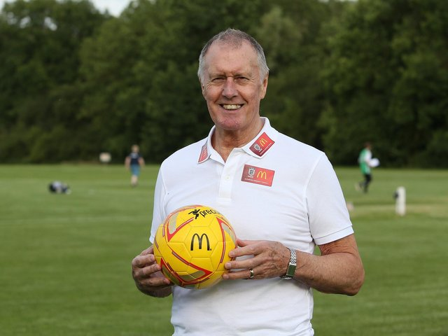 Sir Geoff Hurst, scorer of a hat-trick in England's 1966 World Cup final win, will be the special guest at Brackley Town on June 26