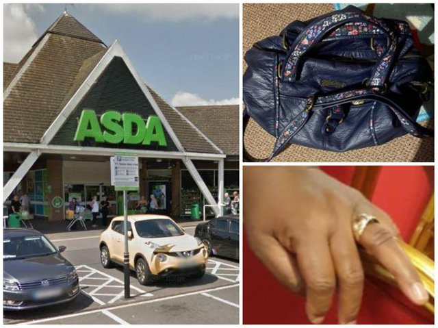 A thief snatched a woman's handbag containing cash and her wedding ring from outside Kingsthorpe's Asda