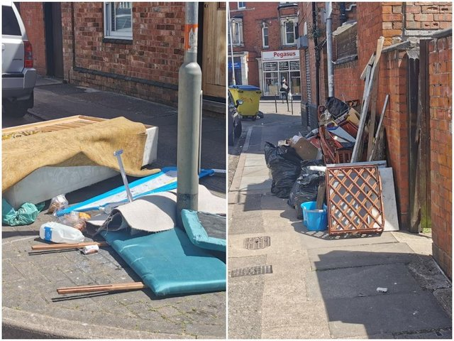 Fly-tipping on Hood Street, Northampton, on Tuesday (June 15)