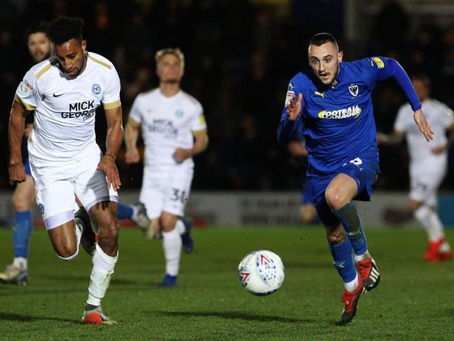 Dylan Connolly in action for AFC Wimbledon.