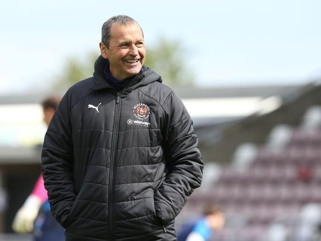 Colin Calderwood returned to Sixfields with Blackpool in April.