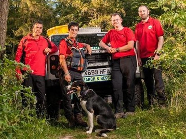Some of the Northampton rescue team — with search dog Ted