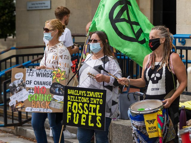 Protesters from the Climate Change activist group Extinction Rebellion demonstrated outside Northampton Magistrates' Court today (Thursday, June 17) in support of 'The Barclaycard Six'. Photo: Leila Coker
