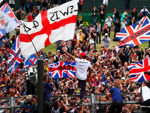 Lewis Hamilton with fans at the British Grand Prix