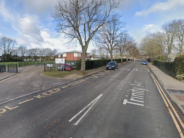 Trinity Avenue is about a 0.4 mile, single lane, stretch of road which has two schools in it