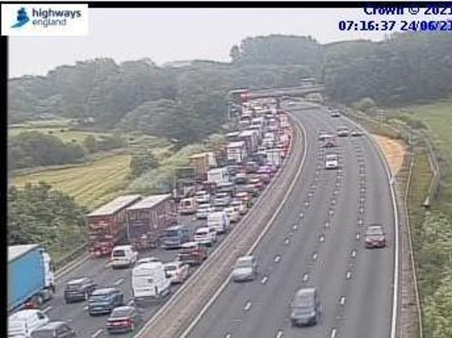 This was the scene on the M1 in Northamptonshire just after 7am on Thursday
