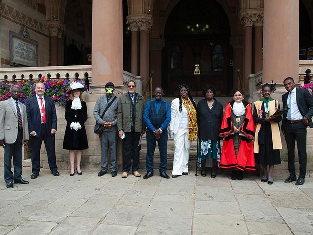Dignitaries outside The Guildhall in Northampton to mark Windrush Day. Photo: Roger Barker