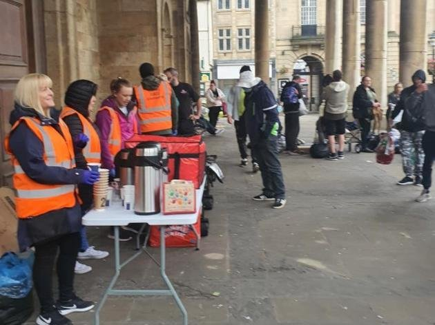 The outreach team at All Saints' Church on Monday (June 21)