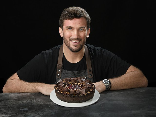 Christian Day with one of his dishes - Cherry and Belgian Chocolate Brownie Cheesecake