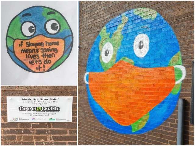 Mask Up, Stay Safe is the new artwork at Mayorhold Car Park in Northampton designed by Ayesha, 18, from Semilong Youth Group, with her original drawing in the top left