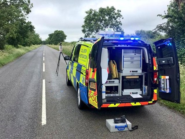 Northamptonshire Police's Serious Collision Investigation Unit at the scene on Saturday.
