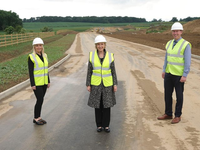 Andrea Leadsom MP was given a tour of the in-progress road.