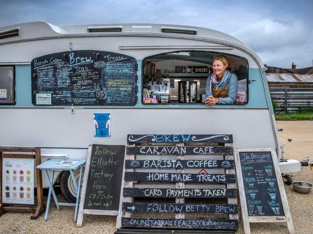 Sarah Elliott-Hart in the Brew caravan cafe. Photo: Kirsty Edmonds.