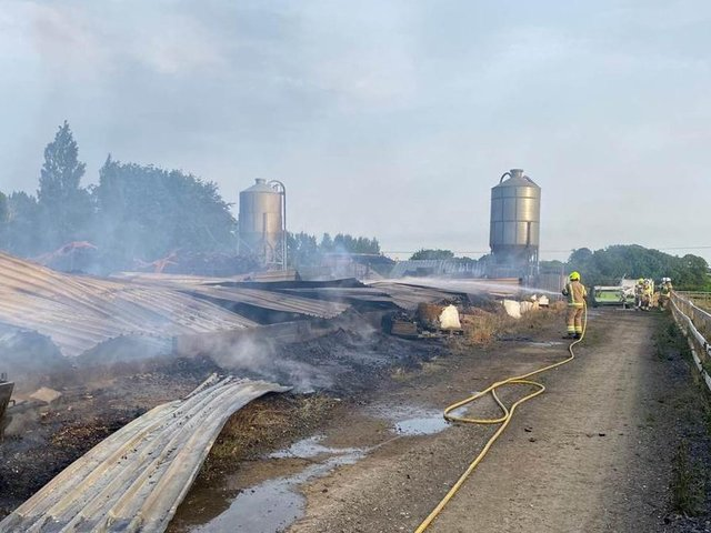 The shed was destroyed by last night's blaze