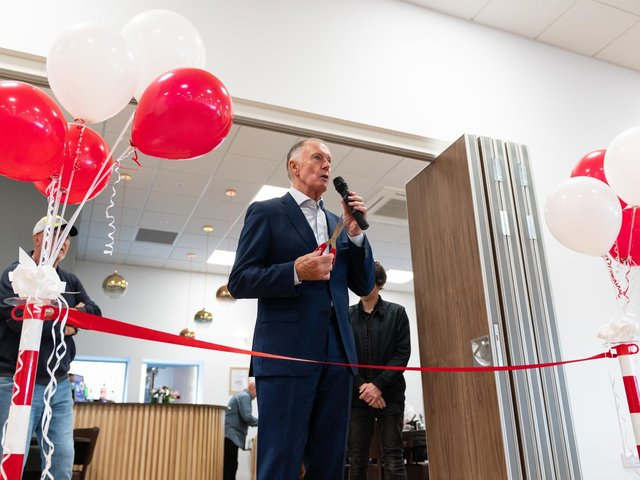 World Cup hero Sir Geoff Hurst was on hand to help Brackley Town open their new clubhouse last weekend. Pictures by Richard Tymon