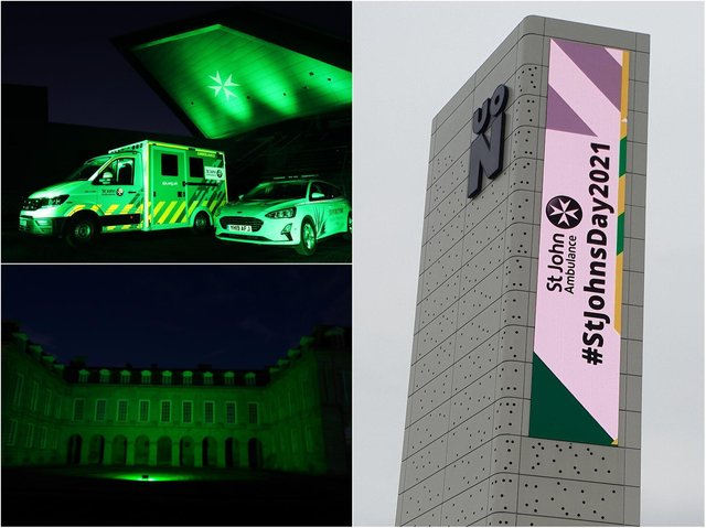 Buildings across Northamptonshire lit up green in support of St John Ambulance.