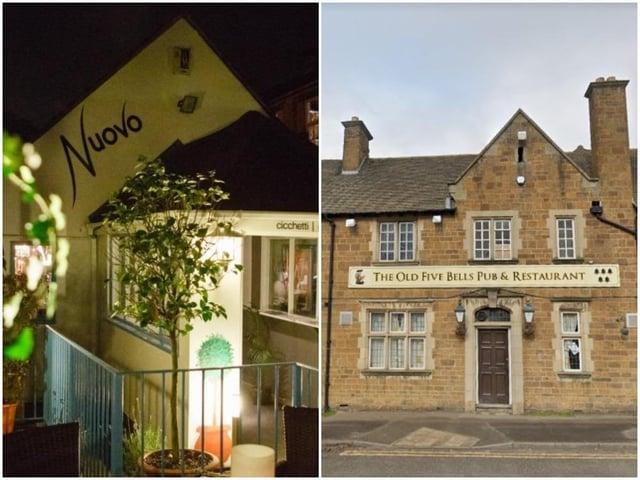Nuovo restaurant on Abington Street and The Old Five Bells pub on Harborough Road, Northampton. Left photo: Google