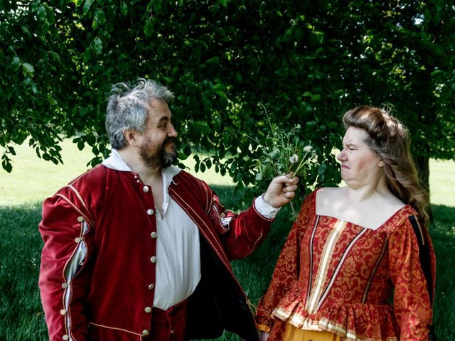 Petruchio (Mark Farey) and Kate (Beverley Webster).