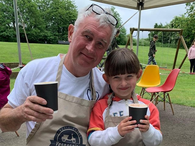 Eamonn Byrne and his five-year-old daughter Grace who loves to help out at her dad's coffee van.