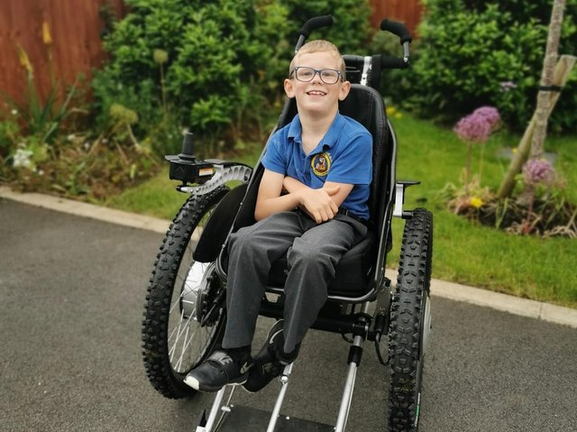 Joey has already trialed the wheelchair and was 'overjoyed' by the independence it gave him.