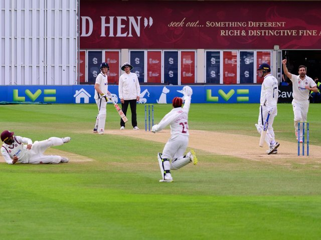 Northants celebrate claiming a Yorkshire wicket (Picture: Jamie Brown - JSR Photography)