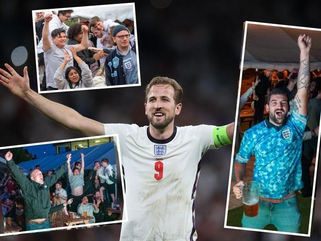 Party time! Northampton's England fans celebrated victory alongside match-winner Harry Kane