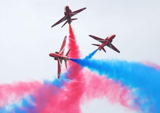 The Red Arrows are famous for their spectacular aerial displays