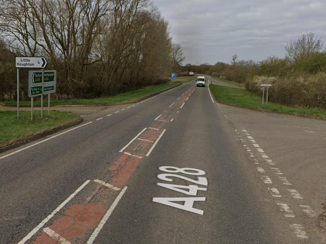 Last december's crash happened at the Little Houghton turning on the A428