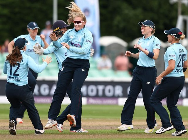England's Sophie Ecclestone celebrates taking a wicket in the ODI defeat to India at New Road on Sunday