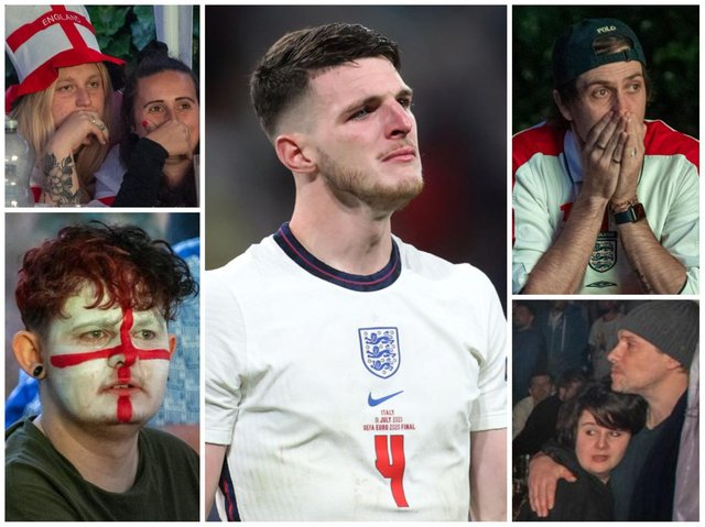 Northampton's Three Lions fans shared the agony of England's Declan Rice