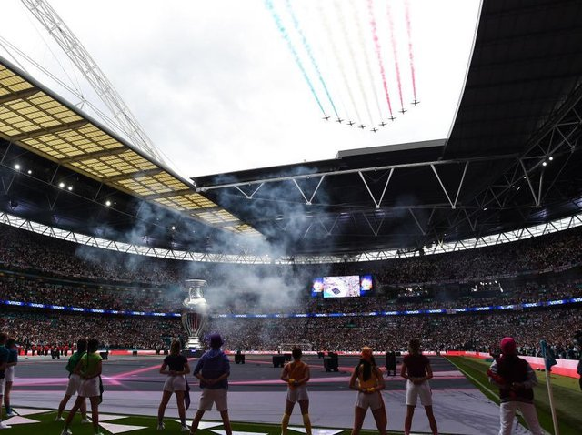 The Red Arrows flew over Wembley just before kick-off in last night's final