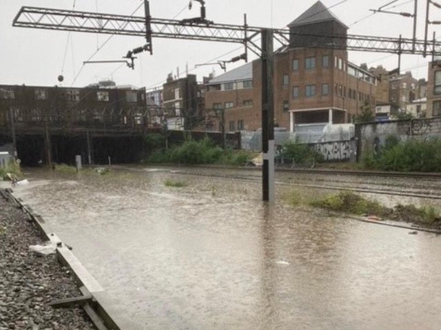 Euston station was shut down after lines flooded last night