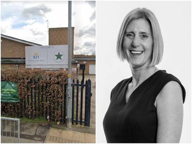 Kings Heath Primary Academy and principal Kim Duff. Photos: Google and DRET