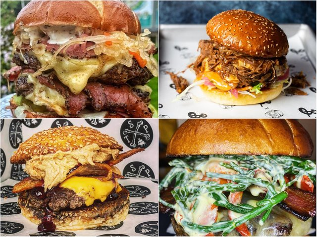 Enjoy burgers from Patty Freaks (top left), The Flavour Trailer (top right), The Smoke Pit (bottom left), Pinch My Bun (bottom right) and more.